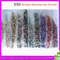 14400PCS SS6 2MM Mix 10 color AAA High Quality Iridescent  nail art crystal rhinestone flat back Non Hot Fix Glue on Rhinestones
