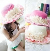2014 New princess hat  baby girl sun hat child girl lace rose strawhat sunbonnet child beach cap MZ19