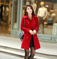 2013 Brand Women Winter Coat Winter Euro Style Red Full Sleeve Fashion Casual  Coat for Women AWH-00033