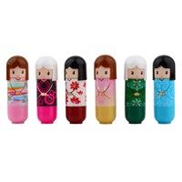6 pcs Lovely Kimono doll Pattern colorful Girl Makeup Lip Balm Lipstick present DropShipping