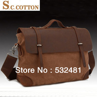 2013  Genuine Leather vintage fashion cotton canvas men messenger bags hot sales and free shipping crazy horse leather bag