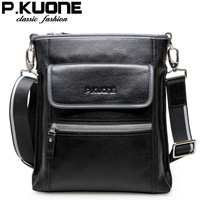 P . kuone male messenger bag first layer of cowhide casual shoulder bag business bag genuine leather man bag
