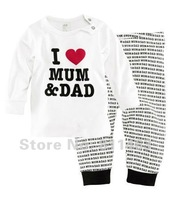 Retail / children boys girls unisex long sleeve letter I LOVE MUM DAD clothing set #XC-029 / kids pajamas / baby sleepwear