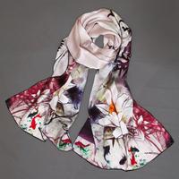 Chinese style silk scarf long design silk scarf mulberry silk gift box set
