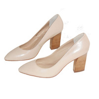 Ladys Genuine Leather Pointed  Toe Thick Heel Pump Shoes. Women's High-heeled Shoes Free Shipping, Fashion Elegant 131012H2