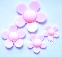 MOQ 6 Sets (4 Items Per Set) Pink Daisy Plastic Flower Cabochon Cell Phone Case DIY Handmade Decoration Accessory Component
