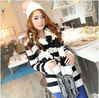 2013 New Autumn Winter Women's Ladies Stripe Sweater O-neck Pullover Thickening Outerwear Free Scarf