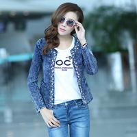 2013 Spring and Autumn Ladies European and American diamond sequined jacket denim jacket denim jacket fashion Qiuyi