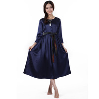 Free shipping Silk satin blue three quarter sleeve pleated skirt full dress
