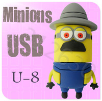 Hot sale U-8 Despicable Me 2 Minions Cartoon U Disk 256MB 4GB 8GB 16GB 32GB 64GB USB 2.0 Flash Memory Stick Gift USB Flash Drive