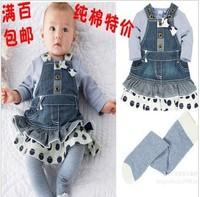 Children's clothing 2013 spring and autumn child set female child 100% long-sleeve cotton denim braces one-piece