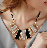 FREE SHIPPING (Mix order $10), The Fashion black rope irregular geometry Crystal Necklace