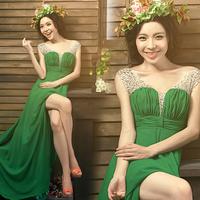 banquet evening dress wedding bridesmaid green slim long design short trailing costume