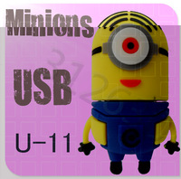 Hot sale U-11 Despicable Me 2 Minions Cartoon  Disk 256MB 4GB 8GB 16GB 32GB 64GB USB 2.0 Flash Memory Stick Gift USB Flash Drive