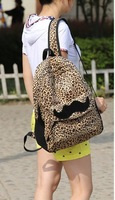 Free shipping Fashion leopard print mianduanrong backpack vintage woolen women's handbag backpack big school bag
