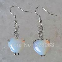 Opal Bead Heart Earrings Women Jewelry Free Shipping T154
