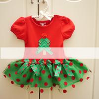2013 christmas dress girl free shipping christmas gift tree deco  short sleeve and long sleeve