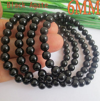 Free shipping 6MM Fashion Natural Black Agate Bracelet Beads Bracelet Women  Jewelry Fashion trends Noble and generous