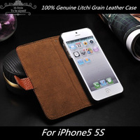 Top quality genuine leather case for iphone 5 5s,Litchi Grain Case Cover for iphone 5 5g free screen protector FREE SHIPPING