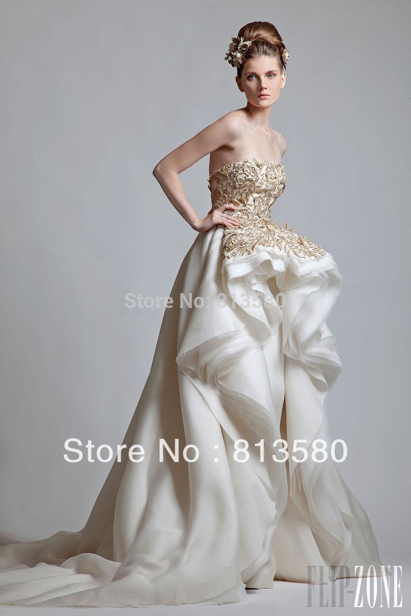 Buy Fabulous Design Krior Strapless Gold Appliques Lace Top