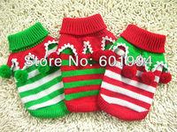 Christmas Tree Stripe Dog Apparel Soft Cozy Sweater Knitwear Coat XXS XS S M L