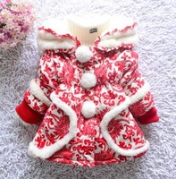 warm girl's clothing tang suit female winter child 2013 cotton-padded jacket baby girls thickening outerwear wadded blue,red