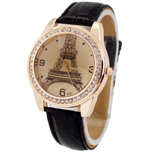Black Deluxe Eiffel Tower Diamond Jewelry Crystal Women s Ladies Girls Xmas Holiday Birthday Gift Analog