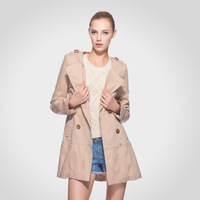 Autumn double-breasted pleated skirt edge trench coat  Dust coat female warm winter fashion