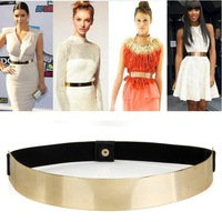 1Pcs Women Elastic Metal Waist Belt Metallic Bling Gold Plate slim Simple Band DropShipping Wholesale