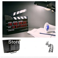 HK Free Shipping Large Size Movie Clapper Board Shape Clock Film Director Action LED Digital Alarm Clock 22.8*18.4cm