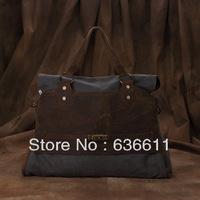 Women canvas vintage crazy horse leather handbag high quality tote for women messenger bag designer genuine leathers bags