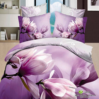 free shipping Textile flower  print cotton double 4 pieces duvet cover set flat sheet set bedding set