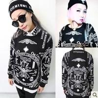 Harajuku les sweatshirt ktz letter skull gd sweatshirt lovers long-sleeve pullover sweatshirt
