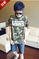 Camouflage vanst male skateboard bboy Camouflage short-sleeve T-shirt lest