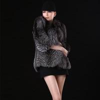 Hot Selling! 2014 New Women Genuine Silver Fox Fur CoatsJackets Vests Natural Furs Gilet Waistcoats Fashion Outerwear Plus Size