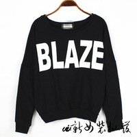 2013 brief letter blaze o-neck loose all-match sweatshirt female/free shipping/fashion 2013 new autumn sweater