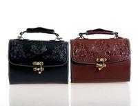 2014 Women's Retro PU Leather Bags with lock Carve Bags Vintage Shoulder Bag Small Handbag