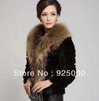 Free shipping Top quality Luxry women Winter Warm raccoon Outwear Fur luxury long Coat Overcoat Jacket for woman
