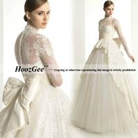 Free Shipping High-end Custom Princess Retro Collar Full Sleeve Court Train Lace Taffeta Bridal Gown/Wedding Dress HoozGee-4033