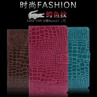 Wholesale Brand Flip Wallet Credit Card Magnetic Stand Crocodile Leather Cases Smart Cover For Google Nexus 7 2 2nd Handbag Bags