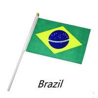 Hot Art 21 * 14cm Brazilian flag size 8, Dynamo Brazilian flag with flagpole , World Cup , 100 wholesale free shipping