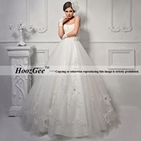 Free Shipping High-end Custom A-Line Sweetheart Strapless Bridal Gown/Wedding Dress With Beading/Embroidery/Sequins HoozGee-2250