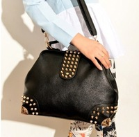 Free/drop shipping 2013  Autumn New Arrival Classical black rivet bag Portability   Designer Tote bag women handbag
