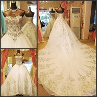 Free shipping 2014 Sparkling sexy wedding dress formal dress bandage tube top train wedding dress bride