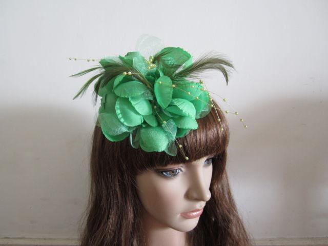 Dark Sea Green Feather Hair Fascinator Clip Women Corsage Brooch Pin Fasinators(China (Mainland))