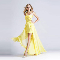 Free shipping 2014 dress Yellow quality exquisite rhinestone low-high fashion formal dress evening dress costume birthday