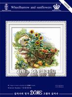 2013 Needlework Lowest price Cotton Fabric Wheelbarrow and sunflowers Patterns DIY handmade pattern