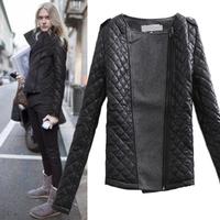 2013 Women punk fashion plaid patchwork front fly woolen unisex jacket outerwear slim wadded jacket