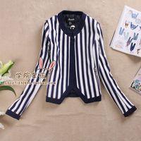 2013 autumn fashion brief vertical stripe shoulder pad no button jacket short jacket
