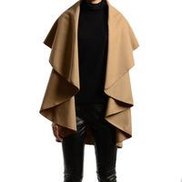 Women's Boutique Fashion Slim Sleeveless Cloak Woolen Cape Coat WF-50555